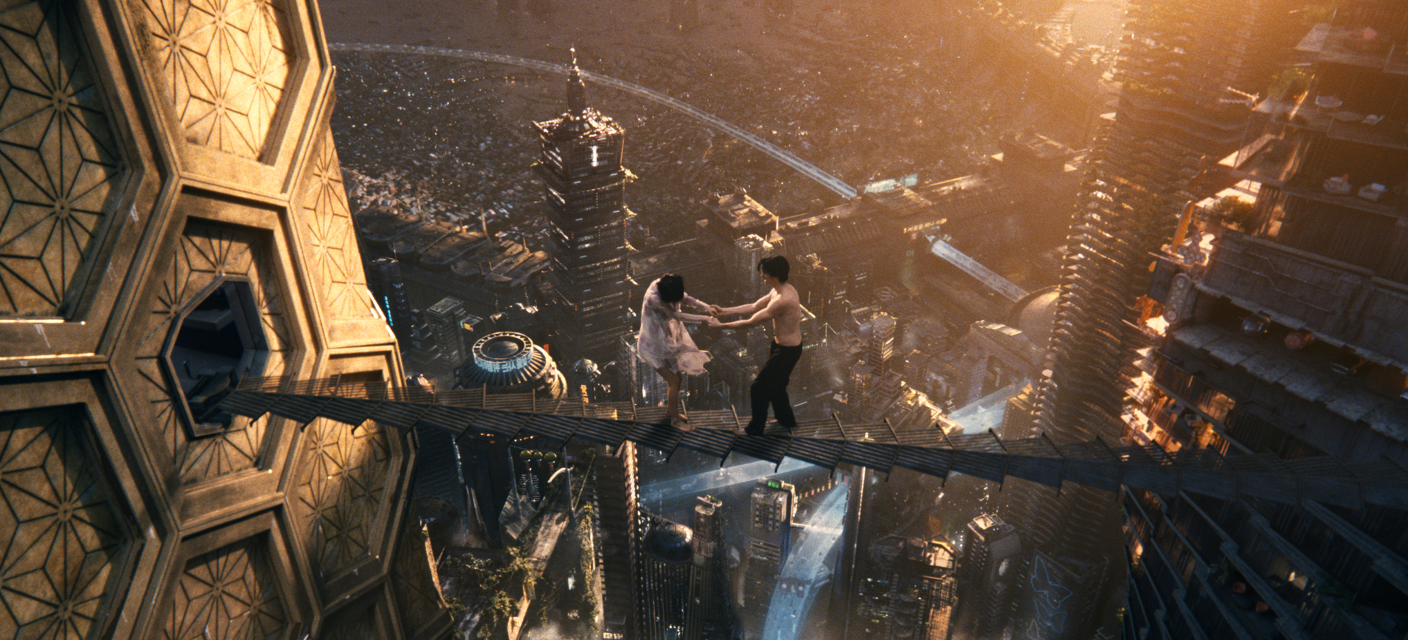 "(L-r) DOONA BAE as Sonmi-451 and JIM STURGESS as Hae-Joo Chang in the epic drama ""CLOUD ATLAS,"" distributed domestically by Warner Bros. Pictures and in select international territories."