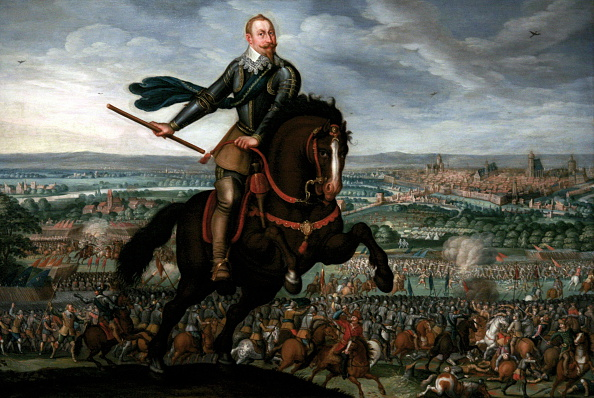 Portrait of Gustav II Adolf of Sweden leading his army to victory at the Battle of Breitenfeld. Painted by Johann Walter. Dated 17th Century. (Photo by: Universal History Archive/UIG via Getty Images)